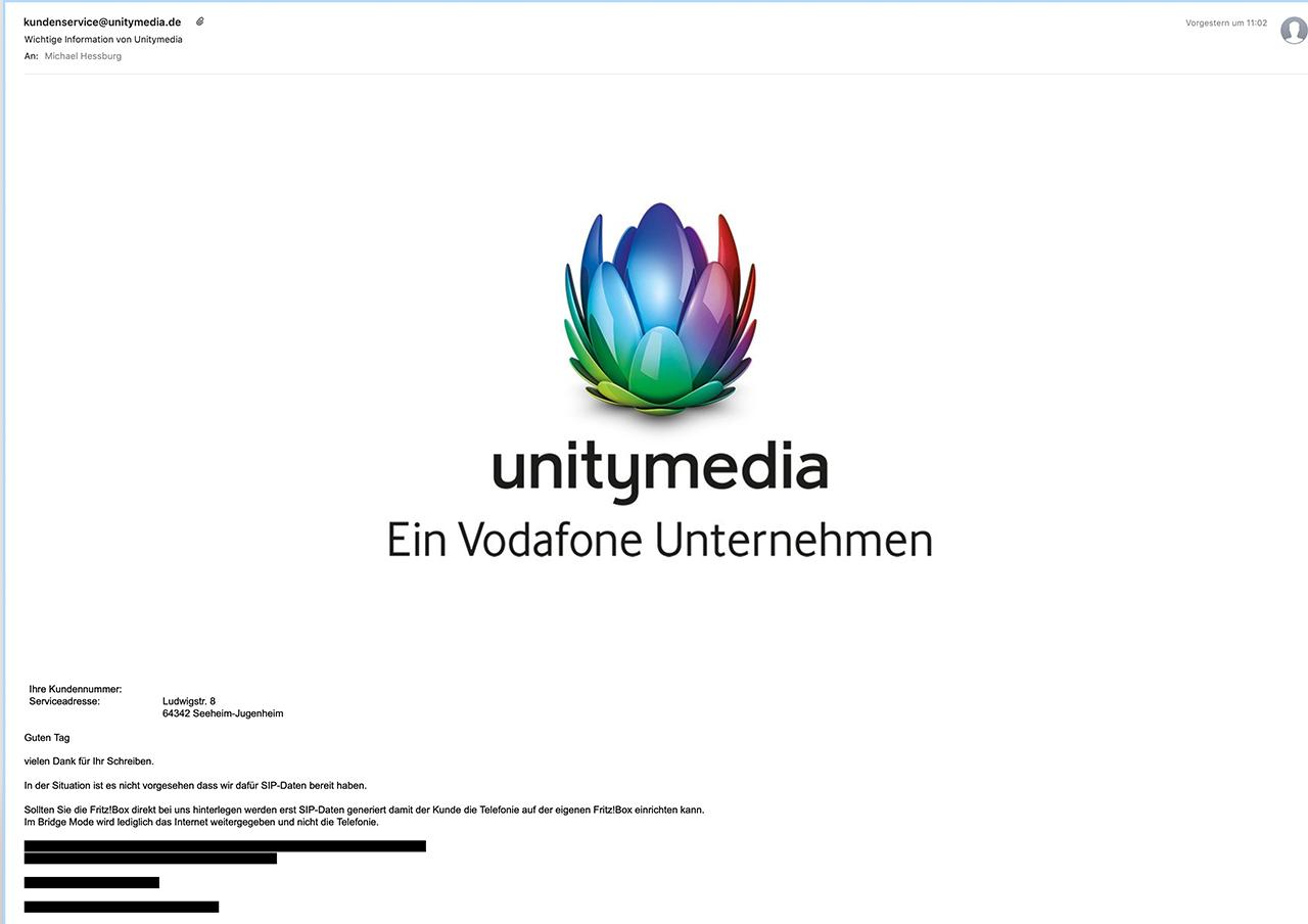 Unitymedia schreiben geschwärzt zensiert