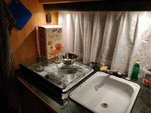 beleuchtete küche wohnwagen
